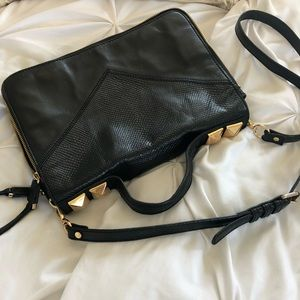 Linea Pelle Studded Black Satchel Bag